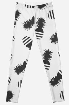'Ananas Parody Logo Funny Print' Leggings by Bithys Online Awesome Leggings, Best Leggings, Iphone Wallet, Iphone Case, Funny Prints, Printed Leggings, Chiffon Tops, Throw Pillow, Contrast