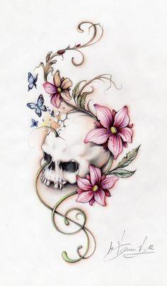 Skull Tat... Girly Skull Tattoos, Skull Tattoo Flowers, Sugar Skull Tattoos, Dope Tattoos, Leg Tattoos, Flower Tattoos, Body Art Tattoos, Tattoo Drawings, Sleeve Tattoos