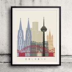 Cologne skyline poster  Fine Art Print Glicee Poster by Paulrommer