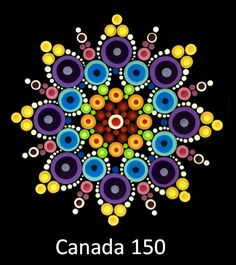 This collection celebrates Canada& birthday and includes 14 patterns, one for each Canadian province and territory and the Canada 150 mandala. This collection was designed as a companion to the Canada 150 program . Rock Painting Patterns, Dot Art Painting, Rock Painting Designs, Mandala Painting, Pebble Painting, Stone Painting, Mandala Painted Rocks, Mandala Rocks, Painted Stones