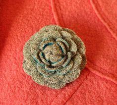 Fabric flower, woolen flower, fall brooch, tweed corsage, woolen brooch, harris…