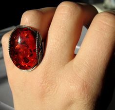 SALE Amberlite Ring Conac Amber Flame Red by HardCandyGems on Etsy, $54.40