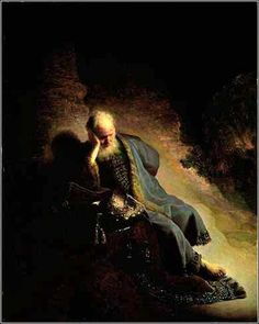 Jeremiah Lamenting the Destruction of Jerusalem, Rembrandt van Rijn ca. 1630.