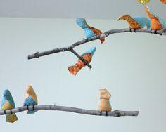 Bird Mobile Blue / Orange / Yellow Fabric Birds by SewnBuddies