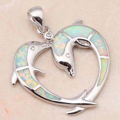 Double Dolphin White Fire Opal Heart Pendant Necklace Luna's Warehouse Beautiful beach-themed jewelery