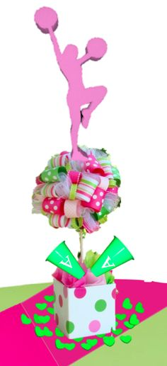 topped with pink cheerleader, with lime green cheerleaders Cheerleader Party, Cheer Party, Cheerleading, Cheer Spirit, Cheer Gifts, Cheer Stuff, Pink And Green, Party Time, Lime