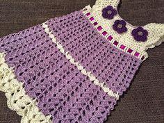 The Daily Knitter & Crocheter: Crochet baby dress pattern - step by step Dress size - 74 cm month Moda Crochet, Crochet Bebe, Baby Girl Crochet, Crochet Baby Clothes, Crochet For Kids, Double Crochet, Crochet Girls Dress Pattern, Baby Dress Patterns, Crochet Patterns