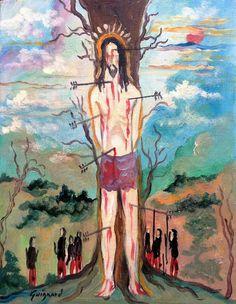 São Sebastião Alberto da Veiga Guignard (Brasil, 1896 – 1962) óleo sobre madeira,  19 x 24 cm