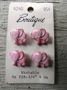 "Vintage Boutique Pink Elephant ""Goofie"" Buttons on Card - 2 Cards Available - from DustyMillerAntiques on Etsy, $7.00"