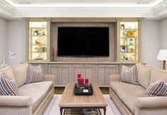 30 Most Popular Living Room Entertainment Center Decorations - nearra news Family Room Design, Home Theater Rooms, Living Room Entertainment Center, House, Popular Living Room, Beach House Design, Luxury Homes, Room Design, Luxury Interior Design