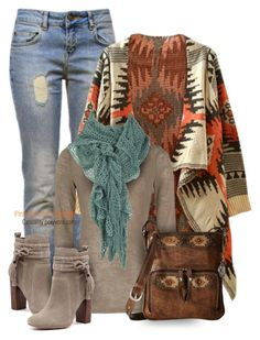 A fashion look from December 2012 featuring white v neck shirt, style poncho and skinny leg jeans. Browse and shop related looks. Southwest Style, Southwest Fashion, Cute Country Outfits, Western Outfits, Chic Outfits, Fashion Outfits, Fashion Tips, Boho Fashion, Autumn Fashion