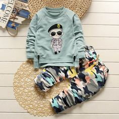 Baby Clothing Sets  Long-sleeve Baby Boys Girls Clothes Cartoon Shirt +Camouflage pants 2pcs Kids Clothing Set Love it? Get it here