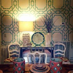 Contempo Trellis Stencil on Dining Room Wall | Project by Sarah Ella Cole of Delta Girl Frames