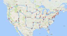Road Trip Map, Road Trip Destinations, Usa Road Map, Road Maps, Travel Maps, Travel Usa, Concept Art Gallery, Perfect Road Trip, Life Map