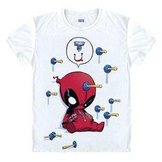 New Slim Deadpool Costume X-men White Man Casual T-shirt Cool man deadpool T Shirt Fashion 2016 deadpool spiderman - Animetee - 14