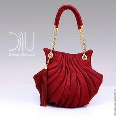 """Купить """"Ракушка винтаж"""" красная - ярко-красный, однотонный, сумка женская, сумка ручной работы"""