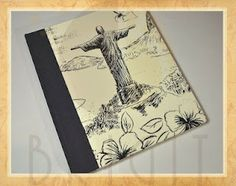 """Handmade book / bookbinding - Book """"Lux University"""" 1- On the front cover we have a drawing of the Corcovado (Christ the Redeemer), and on the back cover we have  a drawing of the famous sidewalk of Copacabana. Handbound book - Handbound Journal"""