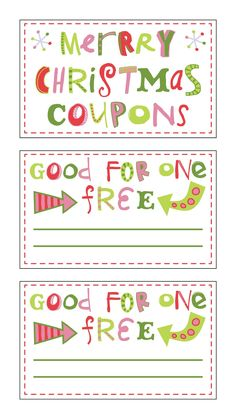 FREE Printable Christmas Coupons{fontaholic}  Christmas Coupons Template