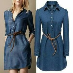 Best value Ladies Denim Dresses – Great deals on Ladies Denim Dresses from global Ladies Denim Dresses se 2016 summer style brand ladies denim dress women long sleeve ladies casual jeans dress with belt vestidos Plus size(China (Mainland)) Cotton Shirt Dress, Denim Shirt Dress, Long Sleeve Shirt Dress, Denim Jeans, Dress Long, Long Dresses, Denim Fashion, Fashion Outfits, Style Fashion
