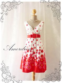 Blooming - White with Red Floral Dress Tea Dress High Waisted Vintage Inspired Dress Party Cocktail Garden Dress Tea Dresses -S-M-. $48.50, via Etsy.