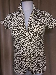 a93d5d2e2505 J. crew NEW white brown leopard print short sleeved button front shirt top  XXXS #