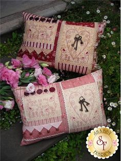 """The Rivendale Collection - Keys To My Heart: This delightful pattern is a part of The Rivendale Collection by Sally Giblin. Pattern includes instructions for stitchery, instructions for appliqué, and instructions for cushion. Finished size is 19"""" x 13""""."""