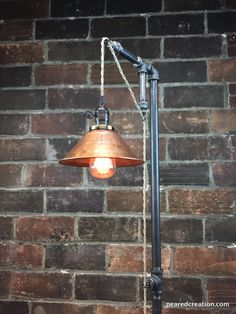 Industrial Floor Lamp Copper Shade Edison by newwineoldbottles