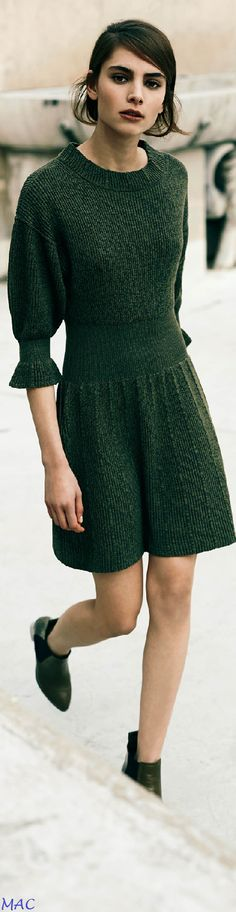 Olive Knit Dress: if only you were just a bit longer (i.e. 1 inch below the knee)