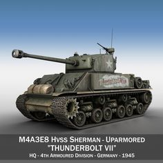 M4A3E8 HVSS Sherman - Thunderbolt VII 3D Model- Originally modelled in cinema4D R11. Detailed enough for close-up renders. The zip-file contains bodypaint textures and standard materials.    Features:  - Inside scene: -model - 17 materials, 4 bumpmaps  - All materials, bodypaint-textures and textures are included.  - No cleaning up necessary, just drop your models into the scene and start rendering.  - No special plugin needed to open scene.    - Phong shading interpolation / Smoothing - 35°…
