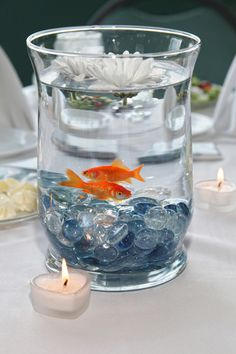 Goldfish as table center pieces at a wedding. Would be perfect for an aquarium wedding Wedding Table, Wedding Reception, Our Wedding, Dream Wedding, Wedding Ideas, Wedding Beach, Wedding Trends, Party Centerpieces, Wedding Decorations