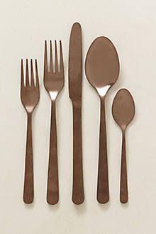 Anthropologie gold flatware - shown in brown