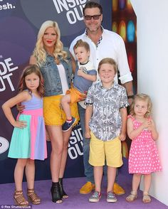 A family affair: Tori was joined by Dean McDermott and their four children:Liam, eight, S...