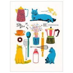"This surreal hand screened print from Astoria, NY's Boyoun Kim is perfect for cooks and cat lovers alike. Measures 11"" x 14"". Signed four-color screenprint on 9"