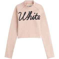Off White Cotton Sweatshirt ($359) ❤ liked on Polyvore featuring tops, hoodies, sweatshirts, sweaters, shirts, beige, patterned tops, cotton sweatshirts, patterned sweatshirt and zip top