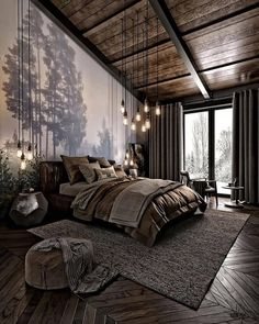 For those looking to make their bedroom look good, adopting a modern bedroom design style isn't actually a bad idea. Here are some easy ways you can redo your bedroom Design bedroom Easy Ways To Remodel A Modern Bedroom + 50 HD Pictures - House Topics Dream Rooms, Dream Bedroom, Nature Bedroom, Nature Inspired Bedroom, Loft Style Bedroom, Forest Bedroom, Forest Theme Bedrooms, Modern Bedroom Design, Bedroom Designs
