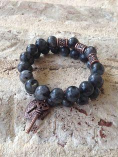 Labradorite Larvikite Semi Precious Beaded Bracelet by LaVieBelle, $25.00