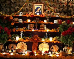 During Day of the Dead people usually set up altars that contain pictures and favorite food of their dead family and friends.