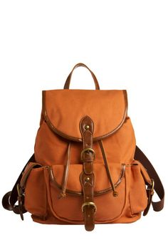 Modcloth is the best. Backpack to the Future Bag in Pumpkin - Tan, Brown, Casual, Urban, Travel, Work, Boho, Scholastic/Collegiate, Festival, Best Seller, Summer, Maternity, Top Rated, Fall, Press Placement
