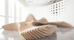 dEEP Architects designed these sculptural benches for an office in Beijing, China.