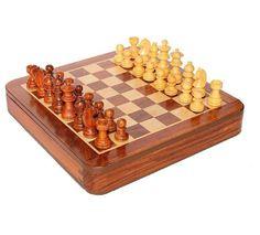 Indian Handicrafts Folding Sheesham Wooden Chess Set with | Etsy
