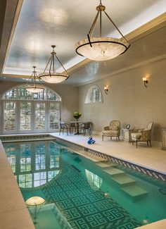 Pool Design in an Old Philadelphia style home. We were fortunate to team up with renowned architect Richard Buchanan's firm. Joe designed the pool and all finishes to be unusual yet reserved.Venetian Plaster ceiling and walls, Custom tile brought in from Turkey and Alabaster Dome Chandeleirs are just a few of the details by Joe.