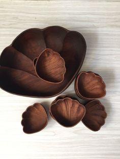 extra large monkeypod hawaiian wood bowls // set of 9 Wood Bowls, Large Bowl, Bowl Set, Serving Bowls, Hawaiian, Decorative Bowls, Tableware, How To Make, Etsy
