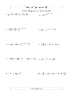 Order of Operations with Fractions -- Four Steps Including Negative Fractions (E)
