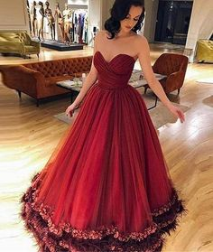 f78c5488b8 Sweetheart Burgundy Ball Gown Prom Dress