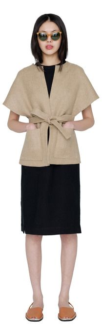 Mia linen wrap vest by Apiece Apart