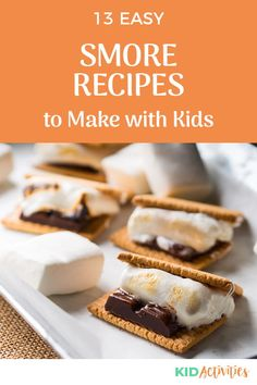 It's campfire season and that means some tasty s'mores. Here we share 13 great s'more ideas. #KidActivities #KidGames #ActivitiesForKids #FunForKids #IdeasForKids #KidsSnacks #CampfireIdeas #Smores Preschool Cooking, Cooking With Kids, Chocolate Covered Graham Crackers, Healthy Party Snacks, Brownie Ingredients, Marshmallow Creme, Camping Activities, No Bake Desserts, Pop Tarts