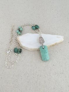Turquoise Amazonite Pendant Necklace on Strand of Silver Rolo Chain with African…
