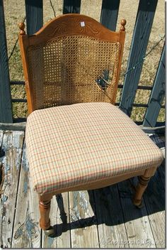 Upholster broken cane back chair. Have to do this for our new dining room table.
