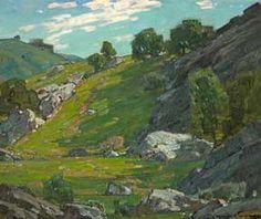William Wendt.  A painting of a cow trail winding up the slope, through some trees.