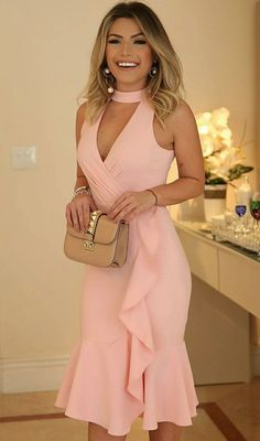 2018 Long Sleeve Gold Prom Dresses,Long Evening Dresses,Prom Dresses On Sale Want a glamorous red carpet look for a fraction of the price? This exquisite dress, Keyhole Bodice Knee Length Party Dress with Ruffles Hem Elegant Dresses, Sexy Dresses, Cute Dresses, Beautiful Dresses, Short Dresses, Fashion Dresses, Party Dresses, Occasion Dresses, Pink Dresses